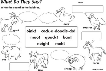 Animal Sounds Worksheet By Maple Leaf Learning Tpt