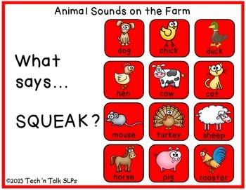 Animal Sounds on the Farm - Interactive Self-Checking Actvity