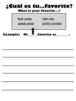 Animal Spanish Vocabulary Package