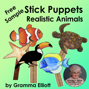 Animal Stick Puppets Free Sample for Reports and Drama in color and BW