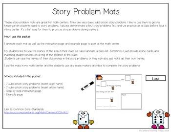 Animal Story Problem Mats  - Subtraction