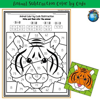 Animal Subtraction Color by Code