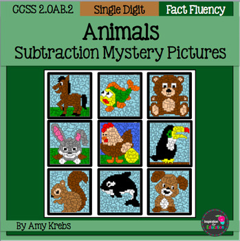 Animal Subtraction Mystery Pictures