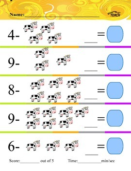 Animal Subtraction PreK-2 Common Core Aligned Volume 2