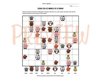 Los Animales: Sudoku Activity with Animals