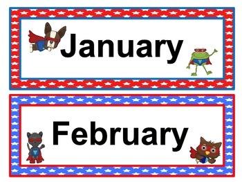 Animal Super Hero Calendar Headers