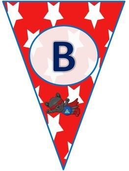 Animal Super Hero Pennant Banners