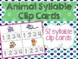 Animal Syllable Clip Cards