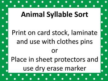 Animal Syllable Sort