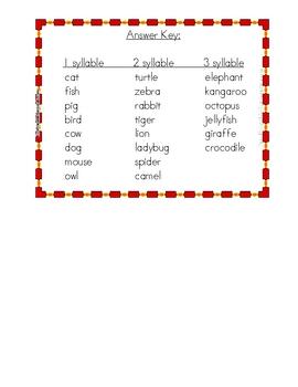 Animal Syllable Sort Literacy Activity