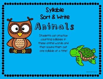 Animal Syllable Sort & Write