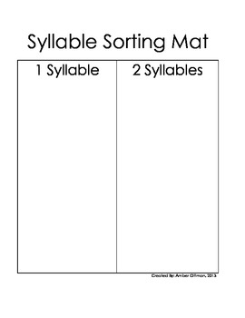 Animal Syllable Sort (one and two syllable words)