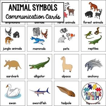 Animal Symbol Communication Cards - Autism