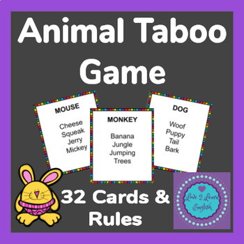 Animal Taboo Game- 32 Cards