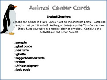 Animal Center Task Cards- Integrating Reading and Math