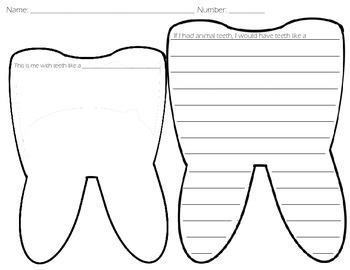 Animal Teeth Writing and Illustration Page