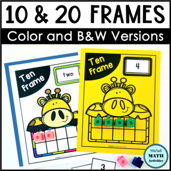 Animal Ten Frame Mats and Number Cards