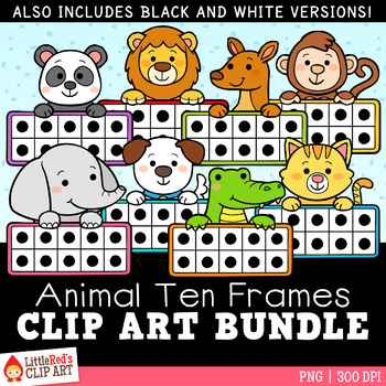 Animal Ten Frames Clip Art Bundle