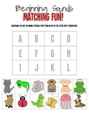 Animal Theme Beginning Sounds Cut & Paste Matching Worksheet