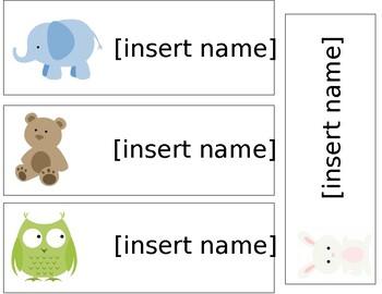 Animal Theme Name Tags - Editable