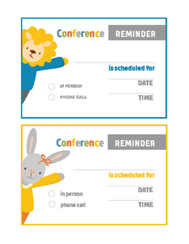 Animal Theme Parent Teacher Conference Reminder Note