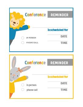 Animal Theme Parent Teacher Conference Reminder Note