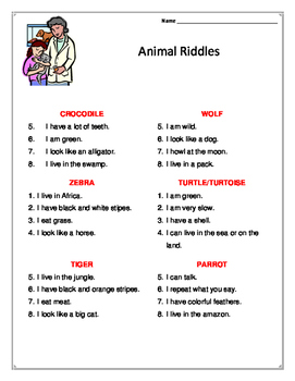 Animal Theme Riddles for Primary Level
