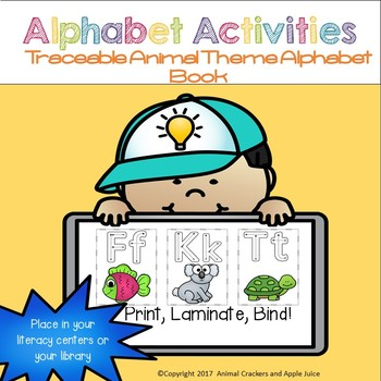 Animal Themed Alphabet Book (Traceable Letters)