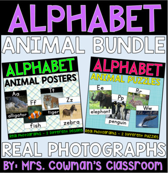 Animal Themed Alphabet Posters & Puzzles: Real-Life Photos (A to Z) Bundle