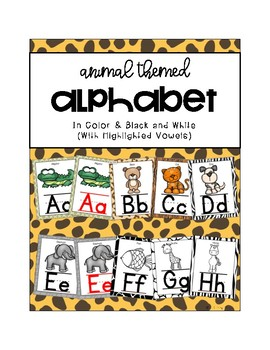 Animal Themed Alphabet in Color and Black and White