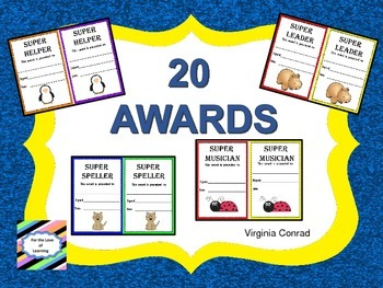 Animal Themed Awards---20 Awards to Acknowledge Students Anytime
