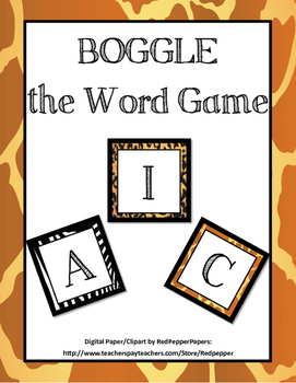 Animal Themed Boggle Game Bullet Board