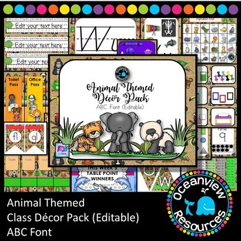 Animal Decor Pack- ABC FONT Editable ideal for Bulletin Boards