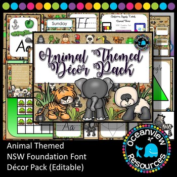 Animal Themed Decor Pack- NSW Foundation Font (Back to school )