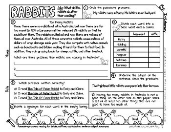 Animal Themed ELA and Reading Skills Review Mini-Pack - Morning Work