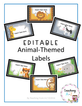 Animal-Themed Easy to Edit Labels