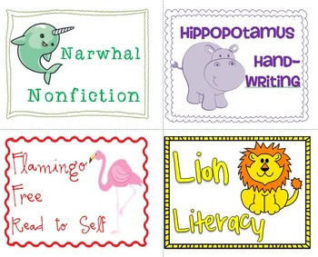 Animal Themed Literacy Stations (editable)
