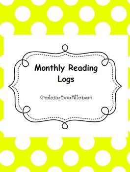 Animal Themed Monthly Reading Logs
