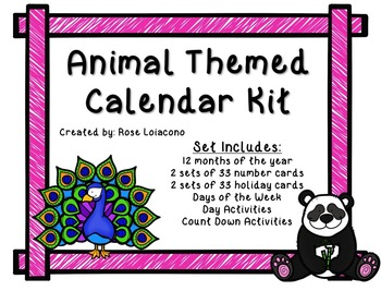 Animal-Themed Printable Calendar Kit