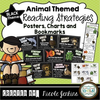 Reading Strategies Posters and More - Black Theme