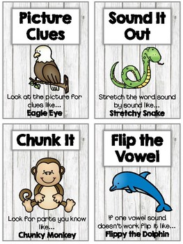 Animal Themed Reading Strategy and Comprehension Posters & Bookmarks BUNDLE