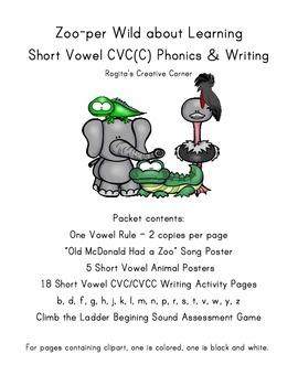 Animal Themed Short Vowel CVC(C) Phonics & Writing Packet