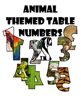 Animal Themed Table Numbers for Classroom