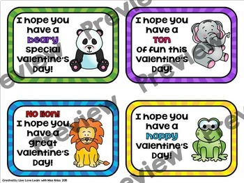 Animal Themed Valentines - Gift Tags