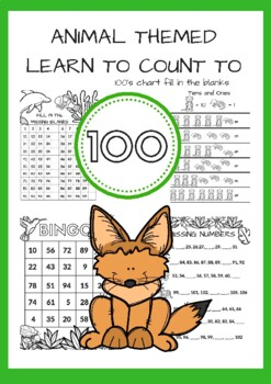 Animal Themed Learn to Count to 100- Bingo, Missing Number