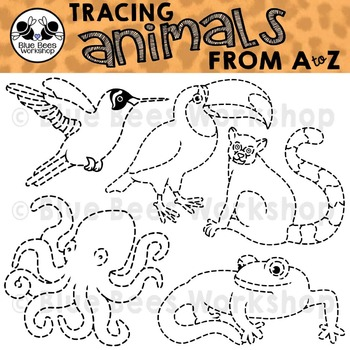 Animal Tracing Clip Art from A to Z