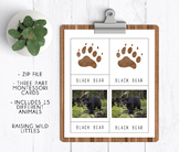 Animal Tracks + Animals | Three Part Cards | Montessori