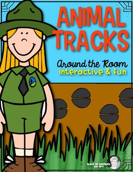Animal Tracks (Camping Theme) Around the Room for Kindergarten & First Grade