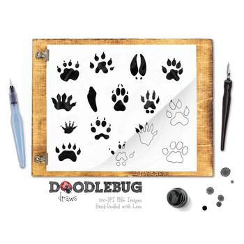 Animal Tracks Clipart + Digital Stamps, Woodland Footprints Graphics