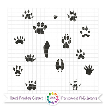 Animal Tracks - Pen and Ink Wildlife Footprints Clipart